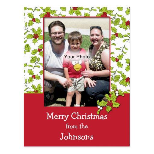 Holly and Mistletoe Photo Christmas Postcard