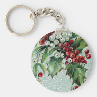 Holly and Mistletoe Vintage Christmas Keychain