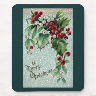 Holly and Mistletoe Vintage Christmas Mouse Pad