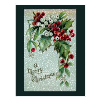 Holly and Mistletoe Vintage Christmas Postcard