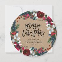Holly and Pine Christmas Wreath Circle Photo Holiday Card