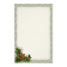 Holly And Pine Cone Christmas Stationery at Zazzle