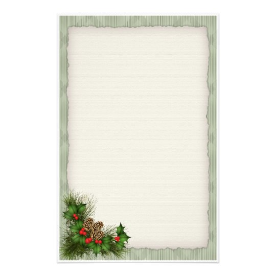 holly and pine cone christmas stationery