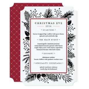 holly and pine custom christmas eve dinner menu invitation