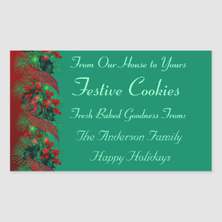 Holly and Pine Holiday Food Rectangular Sticker