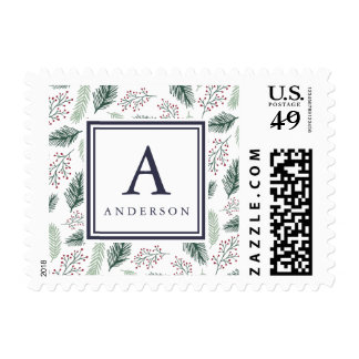 Holly and Pine | Holiday Monogram Postage