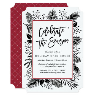 Holly and Pine | Holiday Open House Invitation