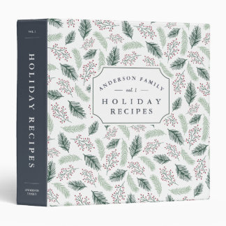 Holly and Pine Holiday Recipe Binder