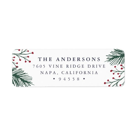 holly and pine holiday return address label zazzle com