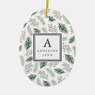 Holly and Pine Monogram & Photo Double Sided Ceramic Ornament
