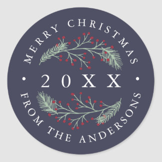 Holly and Pine | Personalized Merry Christmas Classic Round Sticker