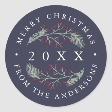 Christmas Themed Holly and Pine | Personalized Merry Christmas Classic Round Sticker