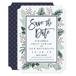 Holly and Pine Save the Date Card