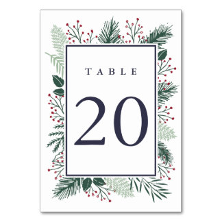 Holly and Pine Table Number Card