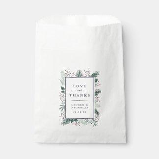 Holly and Pine Wedding Favor Bag