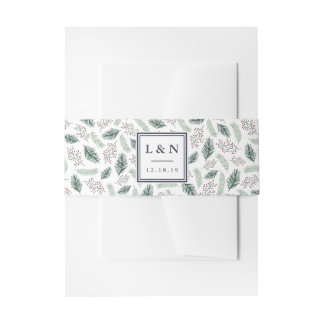 Holly and Pine Wedding Monogram Invitation Belly Band