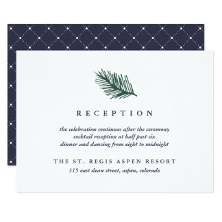 Holly and Pine Wedding Reception Card