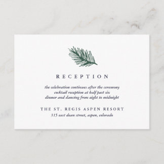 Holly and Pine Wedding Reception Enclosure Card