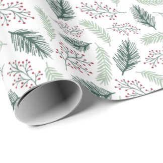 Holly and Pine Wrapping Paper