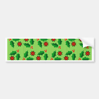 Holly and Poinsettia Car Bumper Sticker