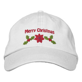Holly And Poinsettia Embroidered Christmas Hat