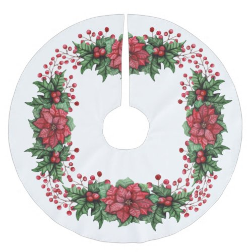 Holly and Poinsettias Brushed Polyester Tree Skirt