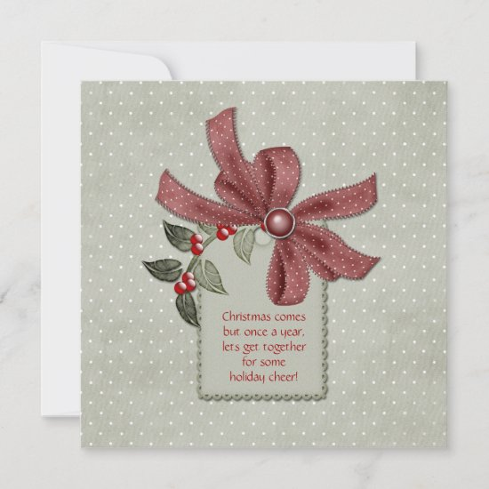 Holly and Red Ribbons Office Christmas Party Invit Invitation