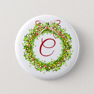 Holly And Ribbon Monogram C Pinback Button