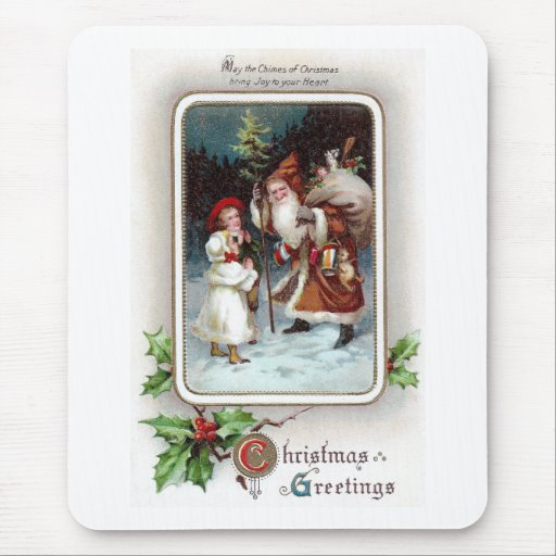 Holly and Santa Vignette Vintage 1910 Christmas Mouse Pad