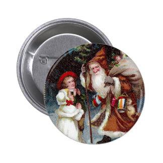 Holly and Santa Vignette Vintage 1910 Christmas Pinback Button