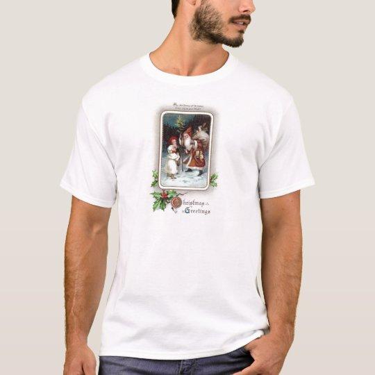 Holly and Santa Vignette Vintage 1910 Christmas T-Shirt