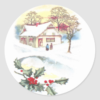 Holly and Snow Covered Scene Vintage Christmas Classic Round Sticker