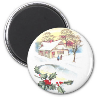 Holly and Snow Covered Scene Vintage Christmas Fridge Magnets
