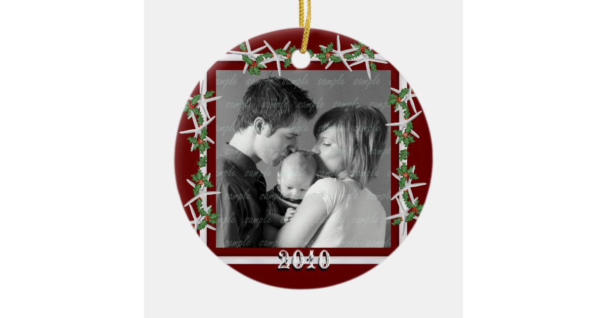 Holly and Starfish Red Family Photo Frame Ceramic Ornament | Zazzle.com