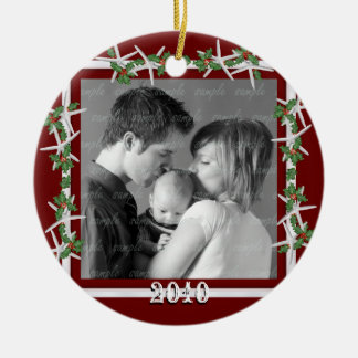 Holly and Starfish Red Family Photo Frame Double-Sided Ceramic Round Christmas Ornament