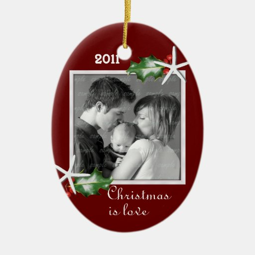 Holly and Starfish Red Oval Family Photo Frame Christmas Tree Ornament