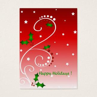 Holly and stars - Gift tag card