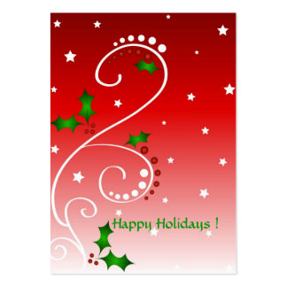 Holly and stars - Gift tag card Large Business Card