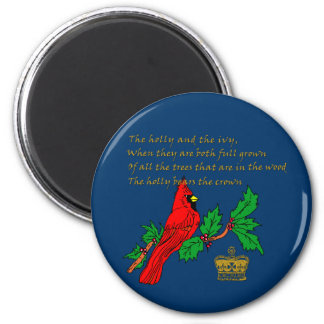 Holly and the Ivy Illustrated on Apparel & Gifts 2 Inch Round Magnet