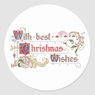 Holly and Winter Scene Vignette Vintage Christmas Classic Round Sticker