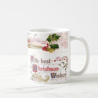 Holly and Winter Scene Vignette Vintage Christmas Mug