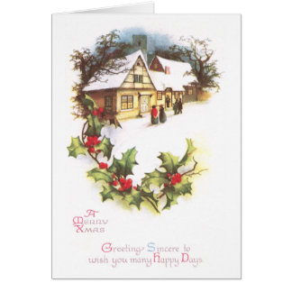 Holly and Wintry Town Scene Vintage Christmas Card