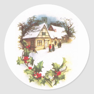 Holly and Wintry Town Scene Vintage Christmas Classic Round Sticker