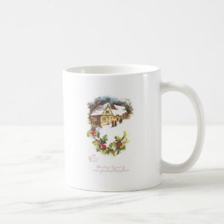 Holly and Wintry Town Scene Vintage Christmas Coffee Mug