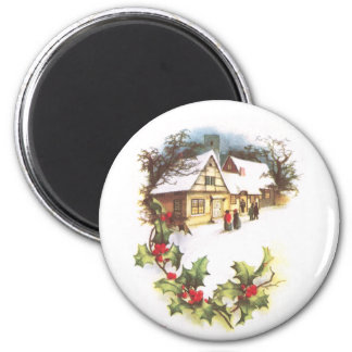 Holly and Wintry Town Scene Vintage Christmas Magnet