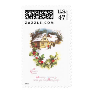 Holly and Wintry Town Scene Vintage Christmas Postage