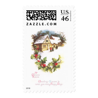 Holly and Wintry Town Scene Vintage Christmas Stamps