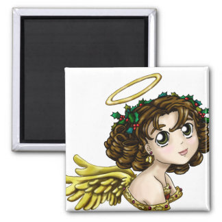 Holly Angel 2 Inch Square Magnet
