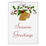 Holly arch, Christmas bells card