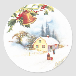Holly, Bell and Mistletoe Vintage Christmas Classic Round Sticker